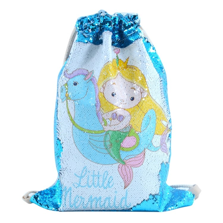 Sequin Drawstring Bag-Blue