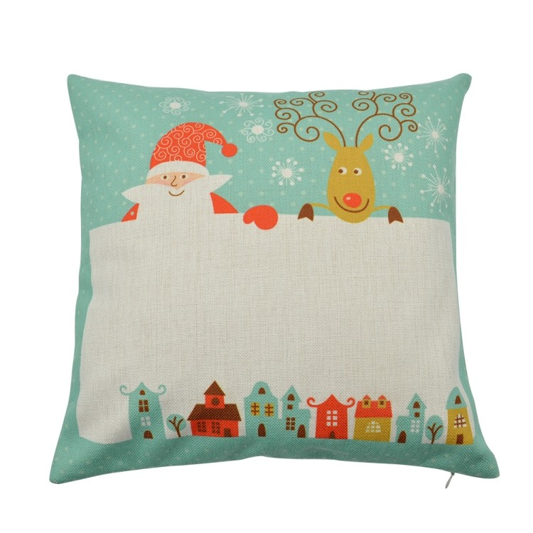 Linen Pillow Case Green with Xmas Pattern Rectangle Printable Part(1)