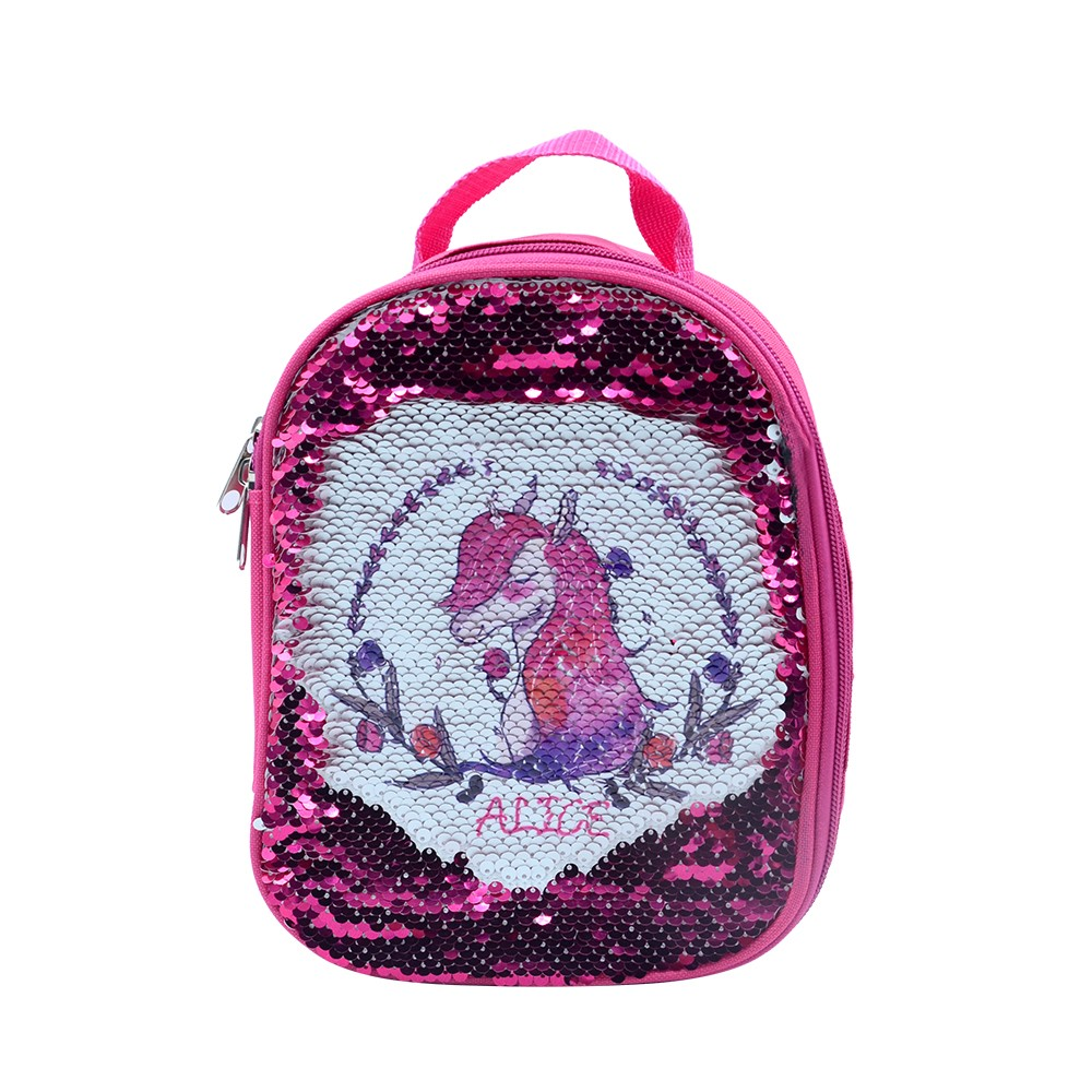 Sequin Kids Lunch Bag-Rose Red